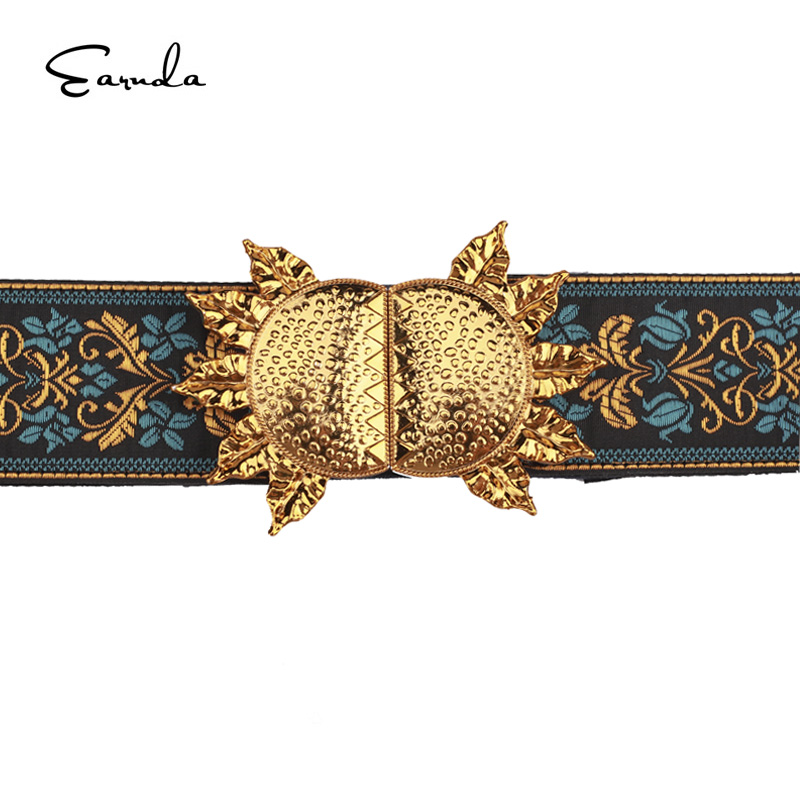 Earnda Embroidered   Belt   For Women 2018 Fashion Elastic Cummerbunds For Dress Slim Waistband Buckle Fabric Flower PU Leather   Belt