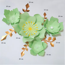 Handmade Light Green Rose DIY Paper Flowers Leaves Set For Party Wedding Backdrops Decorations Nursery Wall Deco Video Tutorials(China)