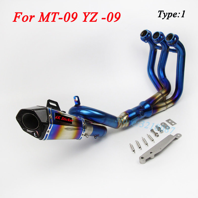MT09 Moto Slip On For YAMAHA MT-09 YZ-09 Motorcycle Exhaust Escape DB Killer Front Middle Link Pipe Stainless Steel With Sticker