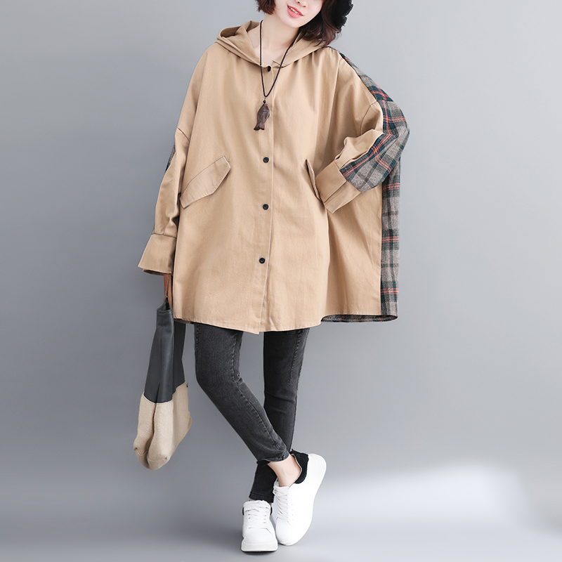 Trench   Coat For Women Plus Size Women's Long Windbreaker Autumn New Female Fashion Plaid Patchwork Hooded Coat Cloak Outerwear