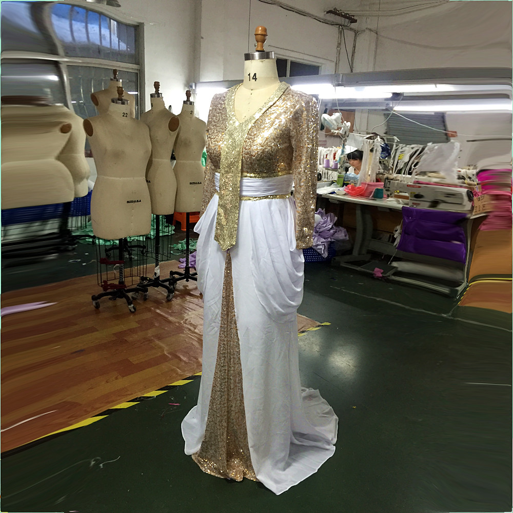 New White Beaded Muslim Long Evening Dresses Luxury Dubai Arab White And Gold Prom Dress Long Sleeves Formal Evening party gown