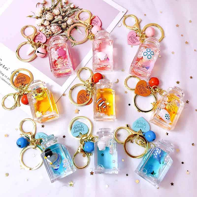 Liquid Animal Round Keychain Creative Moving Key Ring Car Key Pendant Birthday Gift Delicate New keychain cartoon