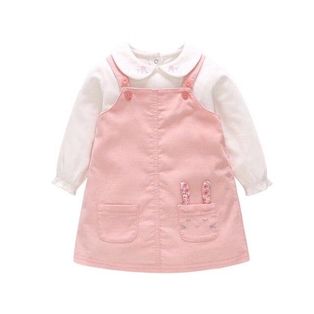 Baby Girl Casual Clothing Set 100% Cotton 2Pcs Baby Toddler Girls Cartoon Rabbit Dress +Romper Outfit Set Kids Clothing