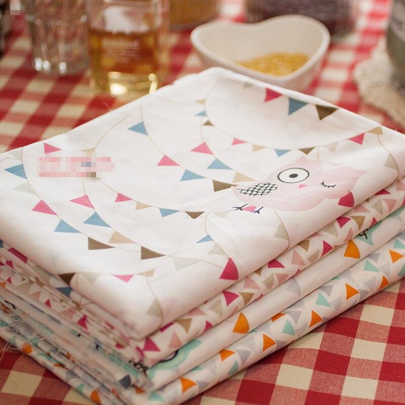 1M X 1.6M Cute Owl Cartoon Fabrics 100% Cotton Twill Printed Patchwork Fabrics for Baby Kids Children Bed Sheet tela infantil