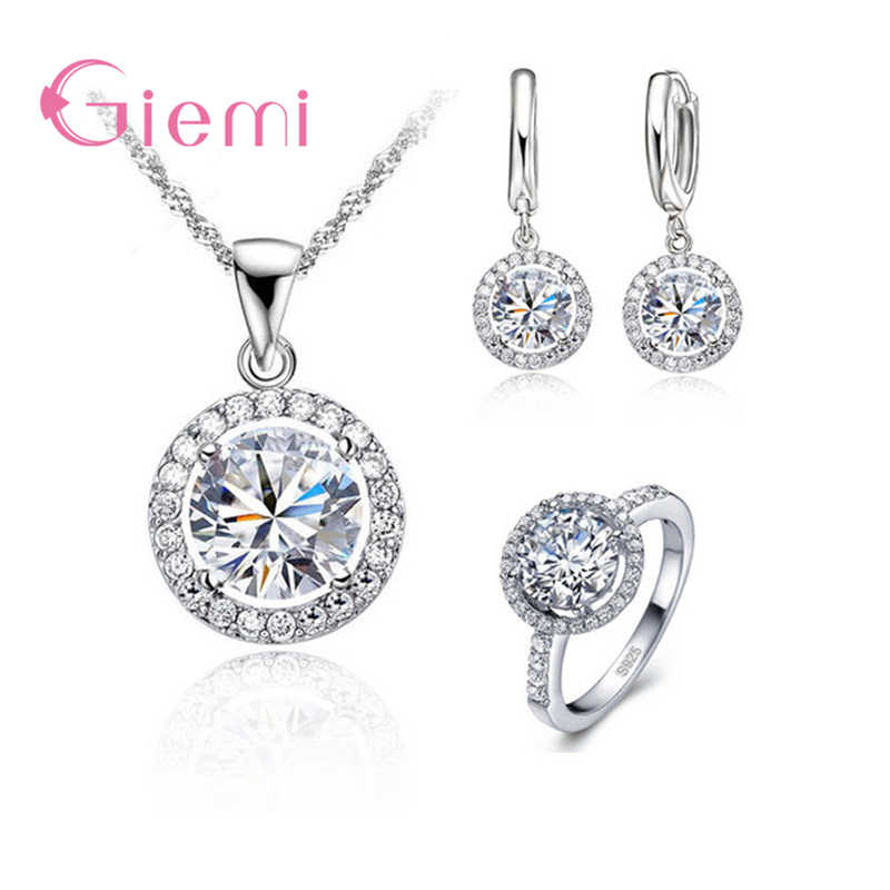 Fancy Gift 925 Sterling Silver Exquisite Women Wedding Necklace Earring Ring Jewelry Set With Zircon Crystal Anniversary
