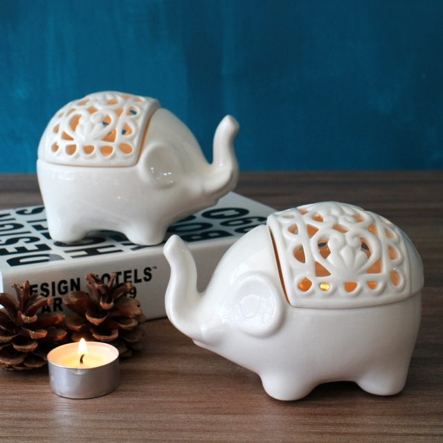 Cute Creative Hollow White Ceramic Elephant Figurines Home Ornaments Porcelain Tealight Holder Candle