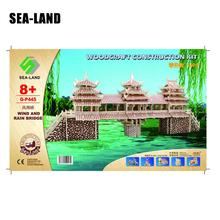 Dropshipping 3D Chinese Famous Buildings Children Puzzles A Wind And Rain Bridge Quality Wooden Puzzles For Adult Wholesale Gift паззл vintage puzzles