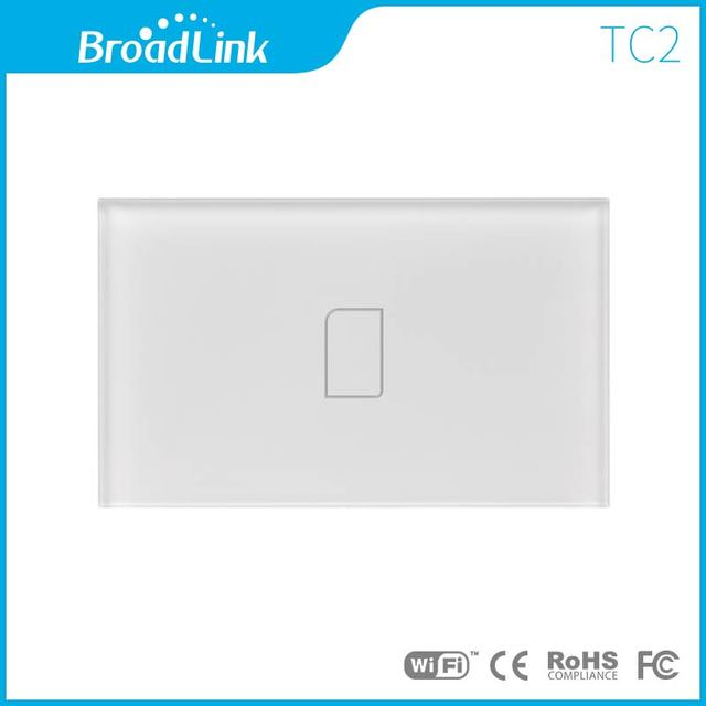 Ee.uu. estándar tc2 1 gang control remoto inalámbrico broadlink wifi pantalla táctil de luz de pared interruptor 170 v-240 v rentable de casa inteligente