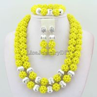 Yellow Two Rows Nigerian Wedding Bridal African Party Beads Jewelry Sets Crystal Beads Jewelery Sets HD3778
