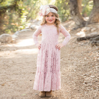 4 15T Princess Bohemian Autumn Spring Girls Lace Dresses 2017 Long Sleeves Lace Dresses For Girls