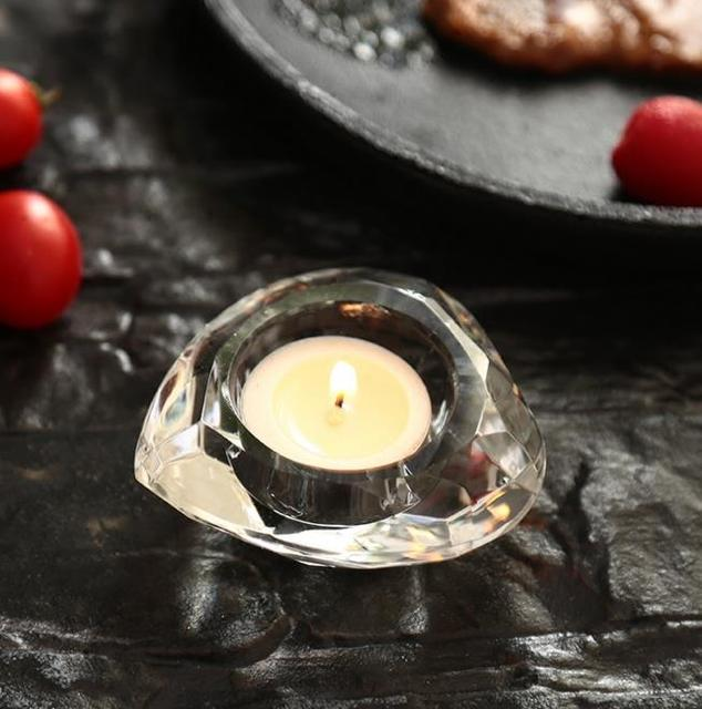 Wedding Candle Favors Crystal Glass Diamond Shape Heart Tealight