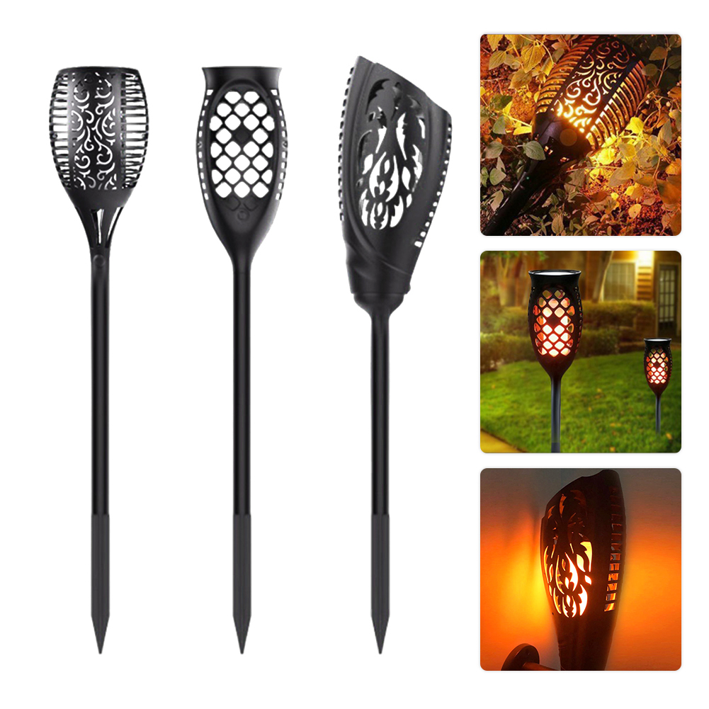 New Solar-powered LED Flame Lamp IP65 96LEDs Dancing Flickering Torch Light Outdoor Solar LED Fire Lights Garden Decoration