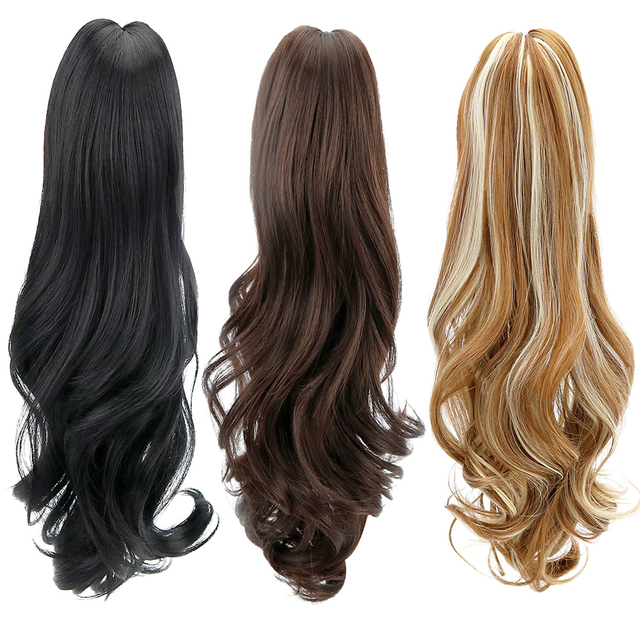 Synthetic Ponytail Wig Hair Extensions Claw On Hairpiece 18inch Long