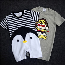 2017 New arrival Baby Rompers Cotton baby boy girl summer short sleeve costume penguin Jumpsuits Roupas Bebes Infant Clothing