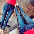 2017 de la alta calidad famosa marca de vaqueros flacos de las mujeres Dril de algodón Delgado pantalones pantalones Cargo Trajes Populares Sexy femenina