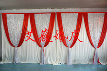 3m x 6m red and white Silk Wedding Backdrop with silver sequin for Wedding Curtain Drape for sparking Wedding & Party Decoration