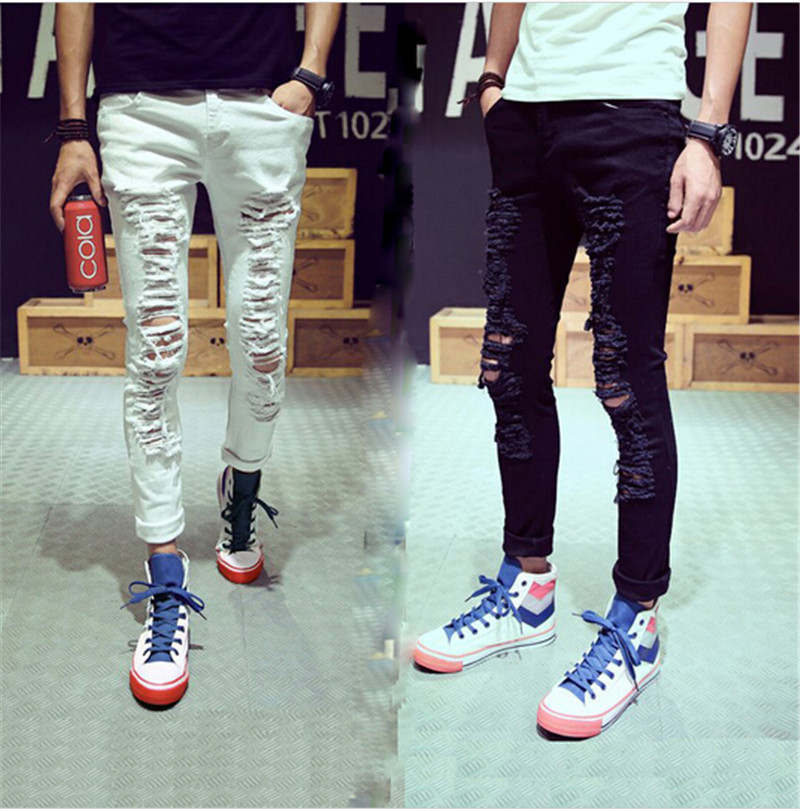 2015 New Stylish Fashion Mens Personality Destroyed Denim Jeans Pants With Holes Male White Ripped Jeans