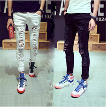 2015 New Stylish Fashion Mens Personality Destroyed Denim Jeans Pants With Holes Male White Ripped Jeans For Men Plus Size S-2XL