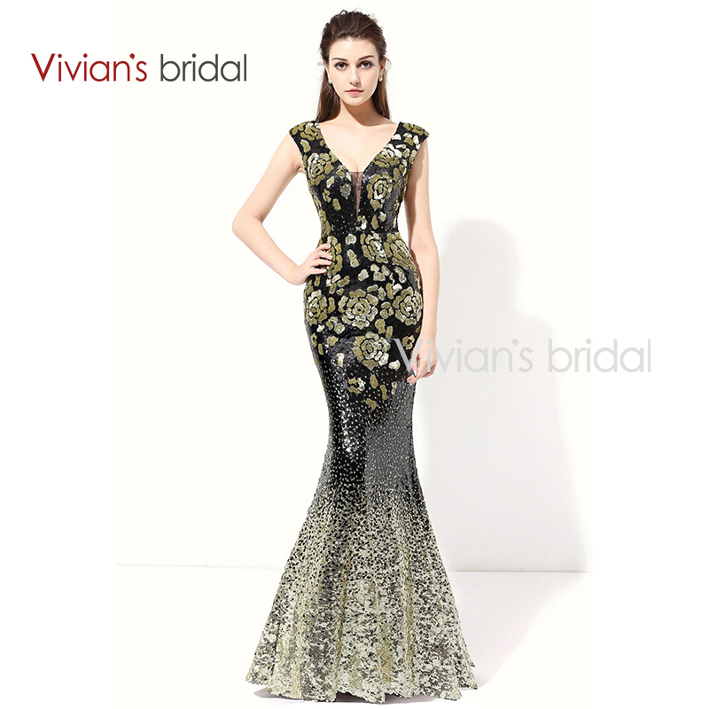 Vivian's Bridal Sequin Mermaid Evening Dress Lång V Halsmuff Sleeve Prom Dress Aftonklänning För Party ED200-1