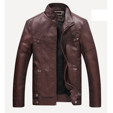 Warm New Mens PU Leather Fleece Jacket Collar Thicken Formal Coat Outwear Parka Jacket Business Motorcycle Winter Casual Biker