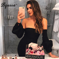 Bqueen 2017 New Fashion Women Autumn Bandage Dress Sexy Slash Neck Off ShoulderBackless Mini Full Puff