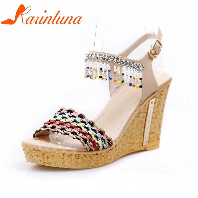 a838d428 Tamaño Vaca Sandalias Plataforma Alta blue Hebilla De 34 Tacones 2019 Mujer  Zapatos Apricot Fiesta Cuña ...