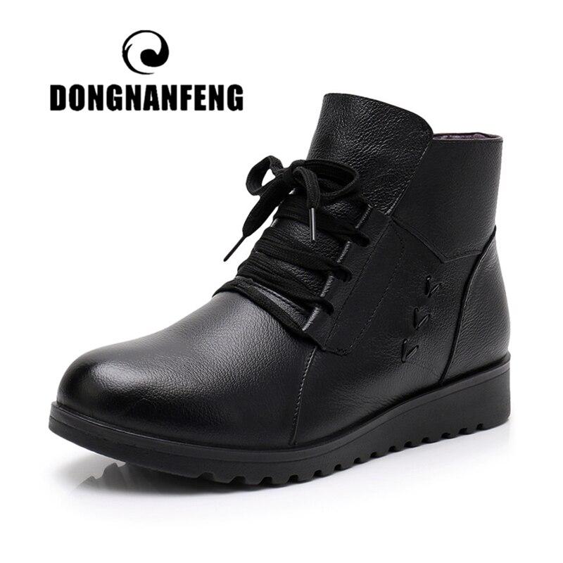 Женские ботинки на шнурках DONGNANFENG, теплые ботинки из натуральной воловьей кожи на осень и зиму, Размеры 35-41, JN-M55580