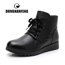 DONGNANFENG Women Ladies Female Old Mother Boots Cow Genuine Leather Winter Fur Plush Autumn Warm Lace Up Size 35-41 JN-M55580