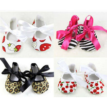 Newborn Baby Girls Bowknot Riband Dress Shoes Soft Sole Anti-slip Prewalkers Shoes Bebe Girl Summer Lace-Up Cute Princess Shoe(China)