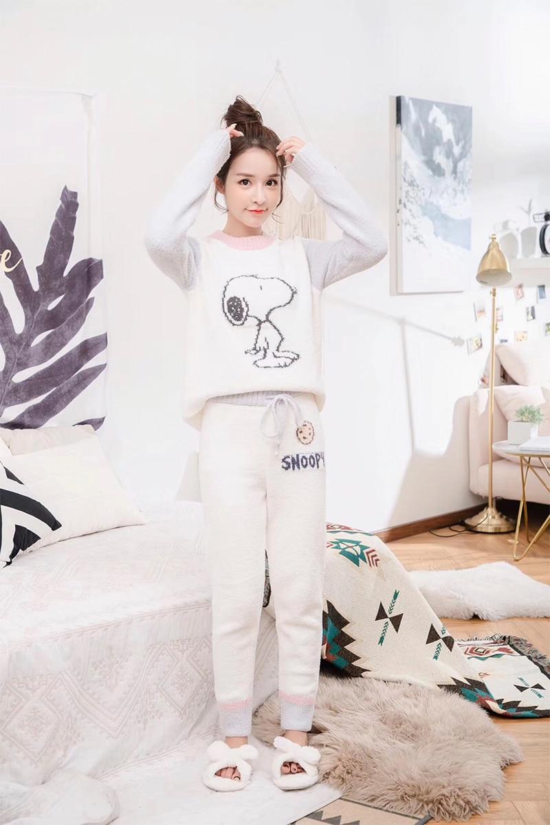 2019 Winter Japanese Style Cozy Soft Yarn Knitted Women Sleepwear Night Gown Pajamas Homewear Loungewear GELATO PIQUE
