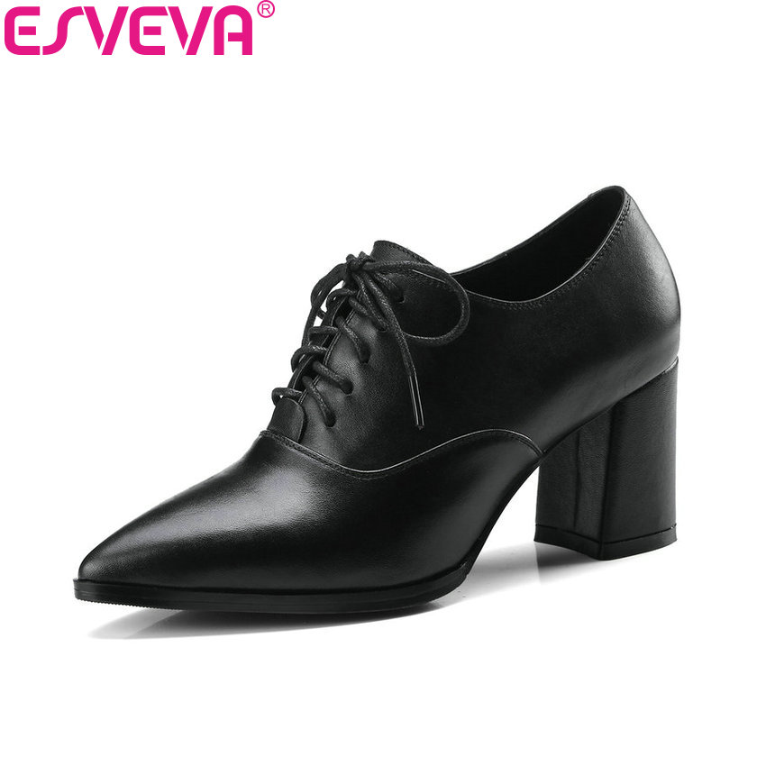 ESVEVA 2018 Women Pumps Black Square High Heels Pointed Toe Fashion Slip on Cow Leather PU Ladies Pumps Shoes Size 34-39 comfy women pointed toe square high heels office shoes woman flock ladies pumps plus size 34 40 black grey high quality