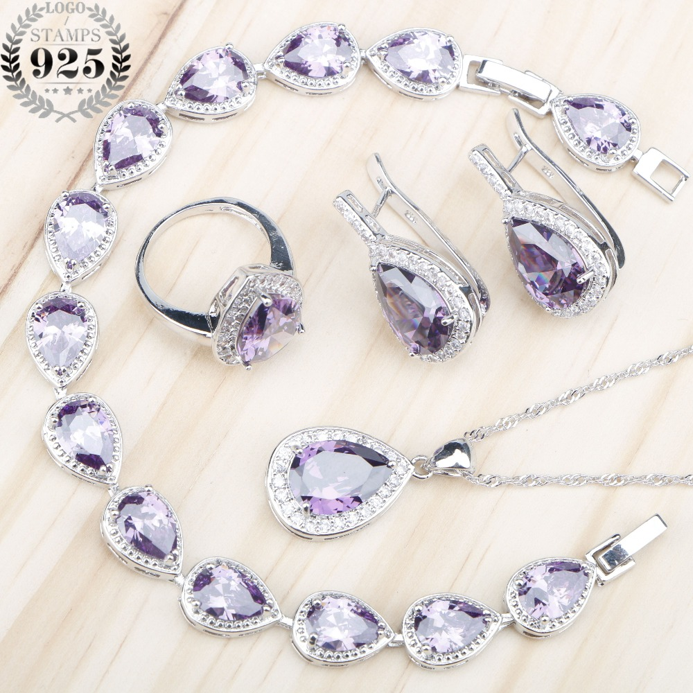 Classic Women Purple Zircon Silver 925 Costume Jewelry Sets Earrings/Rings With Stones Necklace Bracelets Jewelery Gift Box