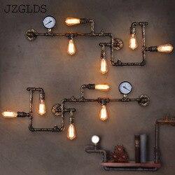 Przemysłowe Wroguht żelaza fajka wodna kinkiet Vintage światła do przejścia Loft żelaza kinkiety Edison żarowe żarówki kawy