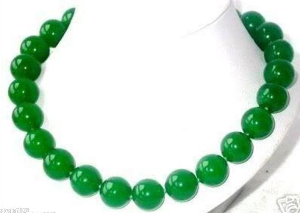 charming Natural Green jewerly 12mm Round Beads Necklace 18 inch
