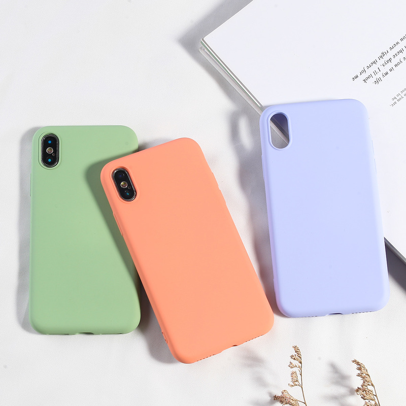 NEW Simple Candy Color Phone Case For iPhone X XS MAX XR 7 8 Plus Soft TPU Silicone Back Covers For iPhone 6 6s Plus Fundas Capa-in Fitted Cases from Cellphones & Telecommunications