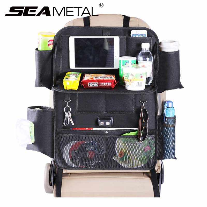Car Seat Organizer Auto Backseat Storage Supply Interior 4 USB Charge Port Universal Automobiles Seat Back Bag Net Accessories
