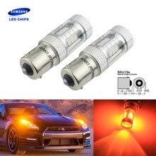 ANGRONG 2pcs 581 BAU15S PY21W 15 SMD Samsung LED Indicator Reverse Stop Light Amber Orange