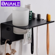 Black Toothbrush Holder Cup Tumbler Wall Mounted Bathroom Shelves with Hook Space Aluminum Set Creative