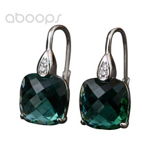 Latest Fashion 925 Sterling Silver Square Green Crystal Leverback Earrings for Women Girls Free Shipping