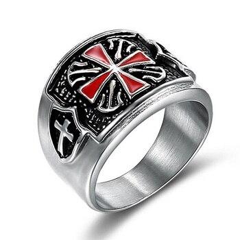d490e0961206 Tamaño 7-15 Vintage Punk estilo Caballeros Templarios Cruz insignia anillo  de acero inoxidable nunca se desvanecen individualidad anillo para los  hombres ...
