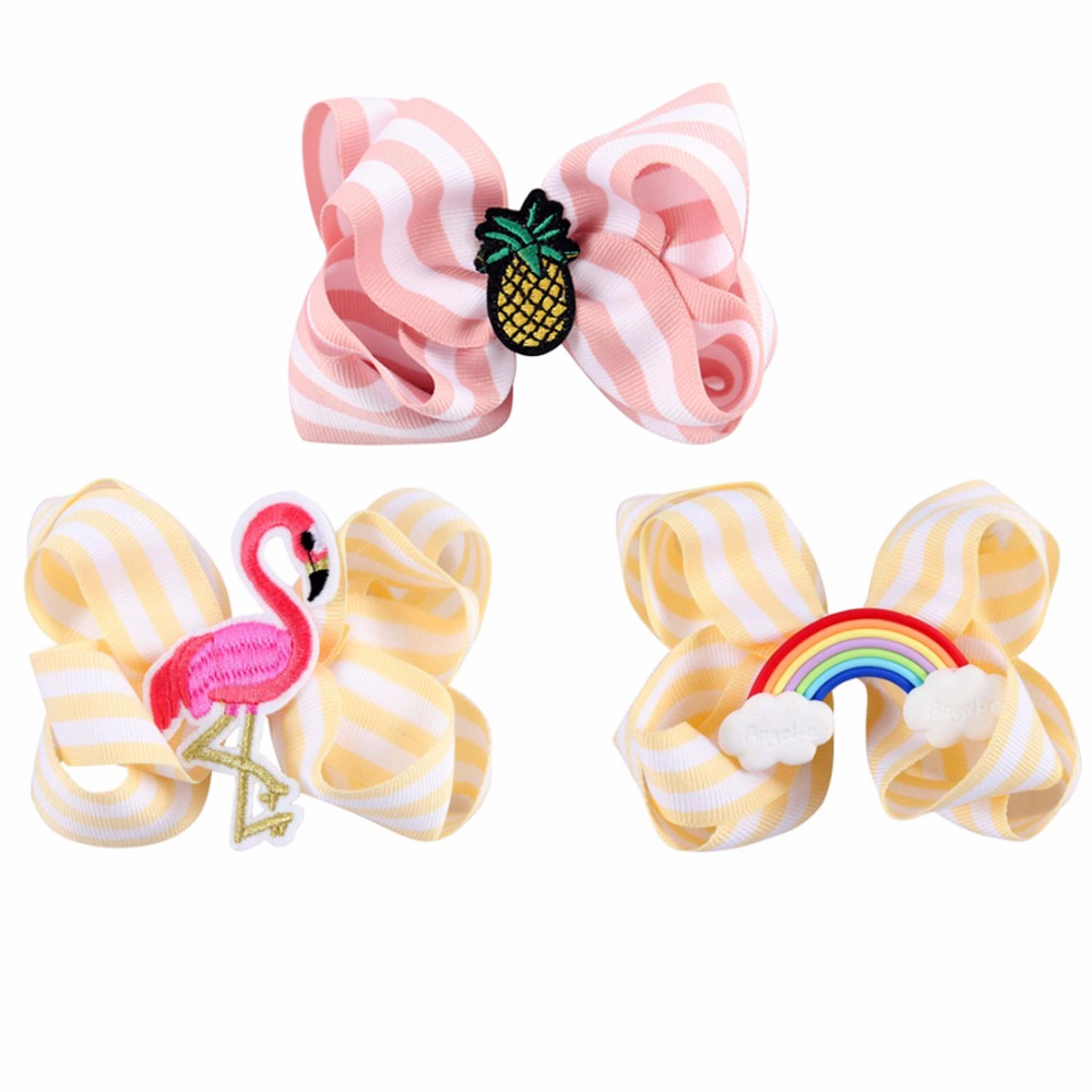 3Pcs New Style Girl Striped Ribbon Hair Bows With Rainbow Pineapple Swan Hair Accessory Hair Clips For Kid Children Hair Pins