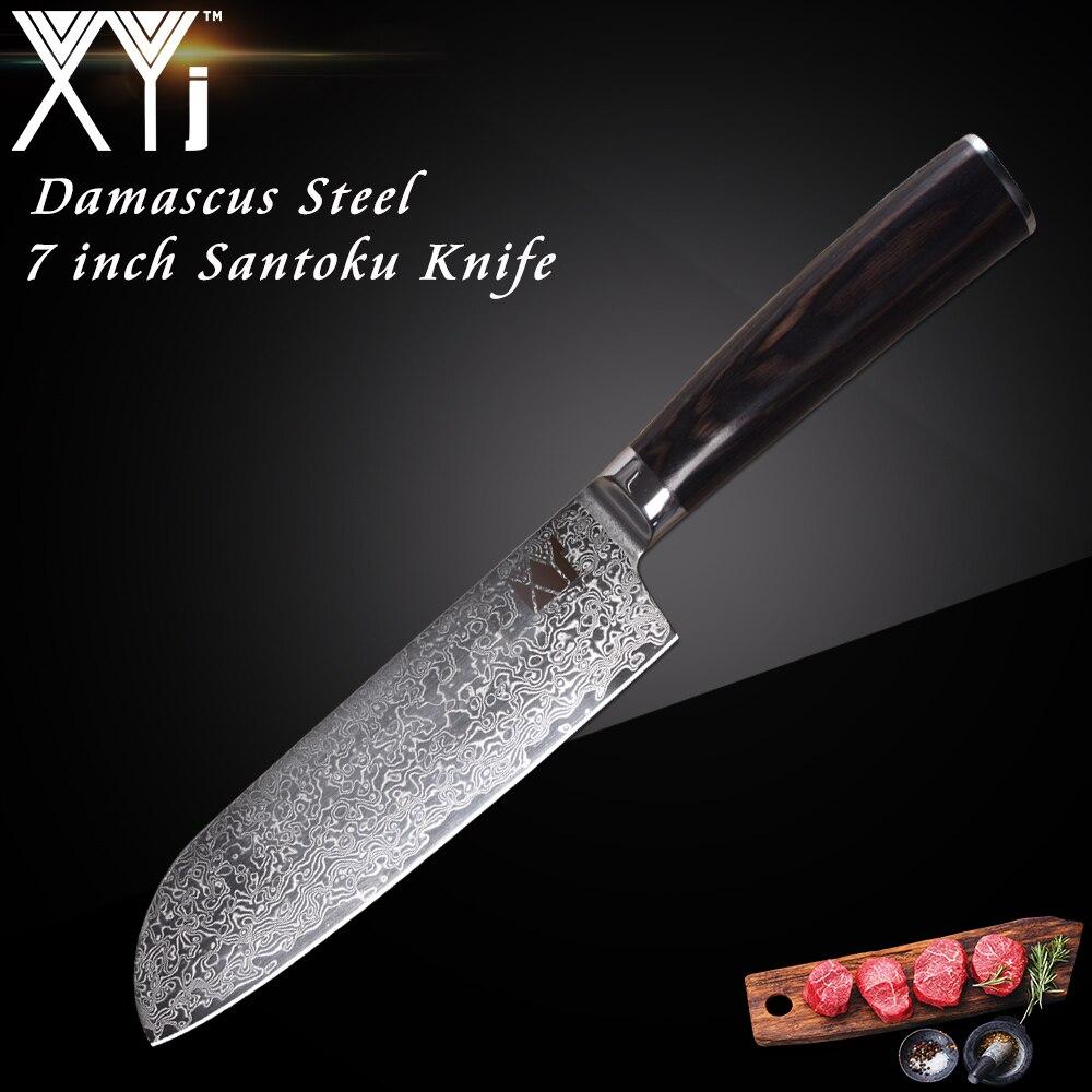 XYj Japanese Damascus Knife Beauty Pattern 73 Layers VG10 Damascus Steel 7 inch Santoku Knife Color