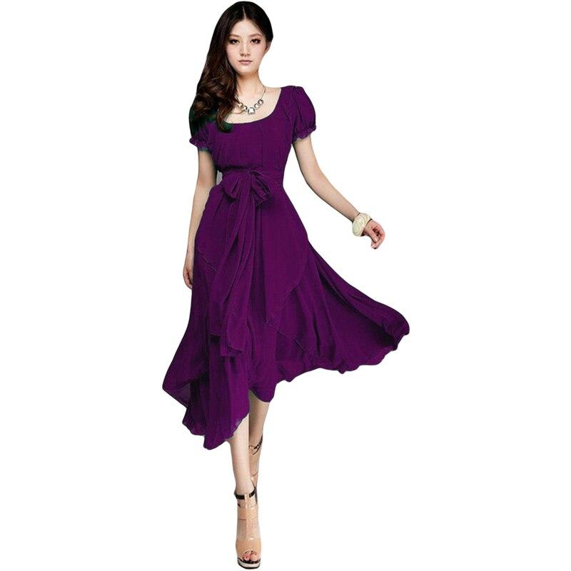 9fddceca806 2015 New Summer Chiffon Beach Dress Plus Size Long Dress Purple Black Blue Light  Green Green Boho Vestido Longo With Belt B302-in Dresses from Women's ...