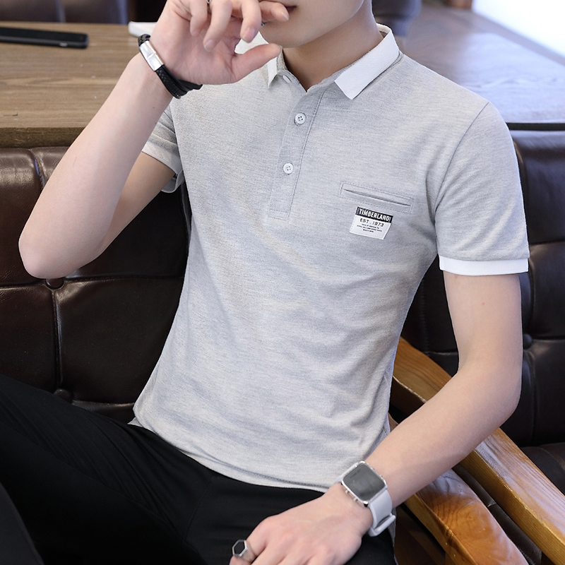 Mens Polo Shirt Summer Style Men Business Casual Solid Color Short Sleeve Polo Shirt Slim Cotton Polo Shirt Men Fake Pocket 19