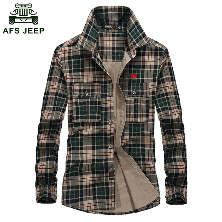 Brand Plaid Men's Shirt 2018 Fashion Long Sleeve Men Shirts Casual Cotton Camisetas Hombre Plus Size 3XL Camisa Social Masculina
