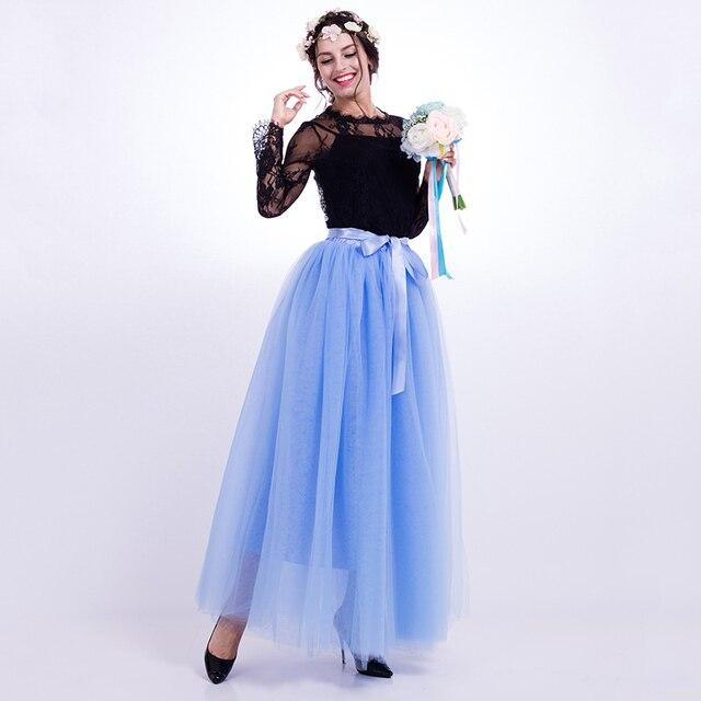 online retailer cd4d9 35e36 US $22.71 29% di SCONTO Elegante Tulle Gonna Lunga Maxi Gonne Per Le Donne  Bridesmaids Tutu gonne Delle Donne Jupe Longue Femme ete Saia de Tule ...