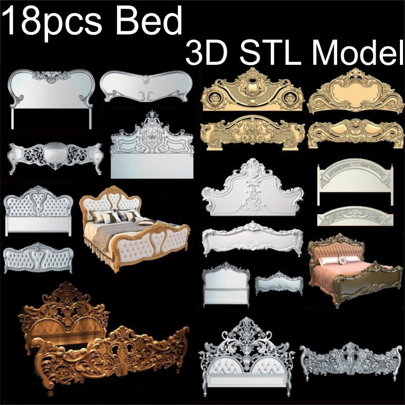 18pcs Bed 3d model STL relief for cnc STL format Bed 3d model for cnc stl relief artcam vectric aspire cnc panno face 1 in stl file format 3d model relief for