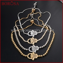 BOROSA Hand Druzy Delicate Multi-kind Stone Silver and Gold Color Link Bracelets For Woman Fashion Jewelry Beautiful Gifts WX148