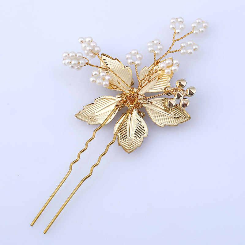 VINTAGE Hairpins ไข่มุกผม PIN ดอกไม้ทองเจ้าสาวอุปกรณ์เสริมผมผู้หญิงเครื่องประดับ Headpiece เครื่องประดับผมสำหรับหญิง