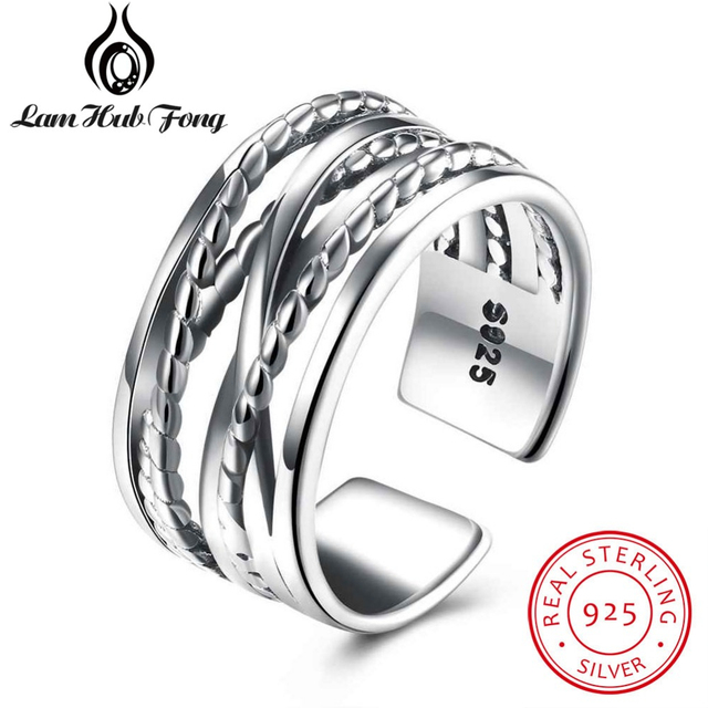 2018 Fashion New Women Rings Solid 925 Sterling Silver Multi Line Wide Ring Jewe